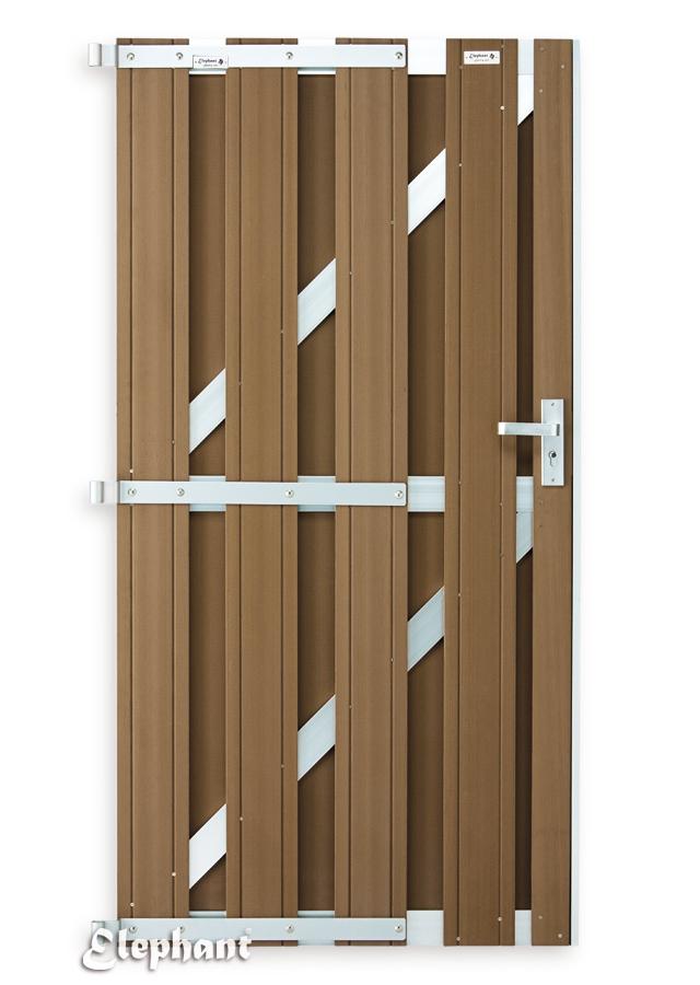 Composiet tuinpoort voor schutting WPC bruin 180x90cm