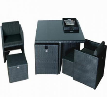 Gartenmöbel Sets - Gartenmöbel Prat polyrattan schwarz  - Onlineshop Intergard
