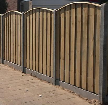 Schutting hout beton per complete set 200x190cm 21pl. toog