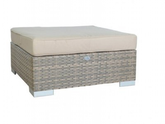 Hocker London - Cappuccino - flaches Polyrattan