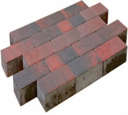 Pflastersteine beton rot/schwarz.