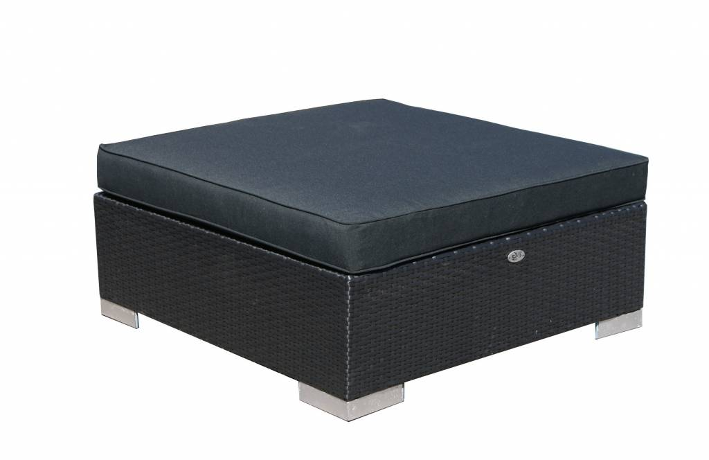 Hocker London - Schwarz - flaches Polyrattan