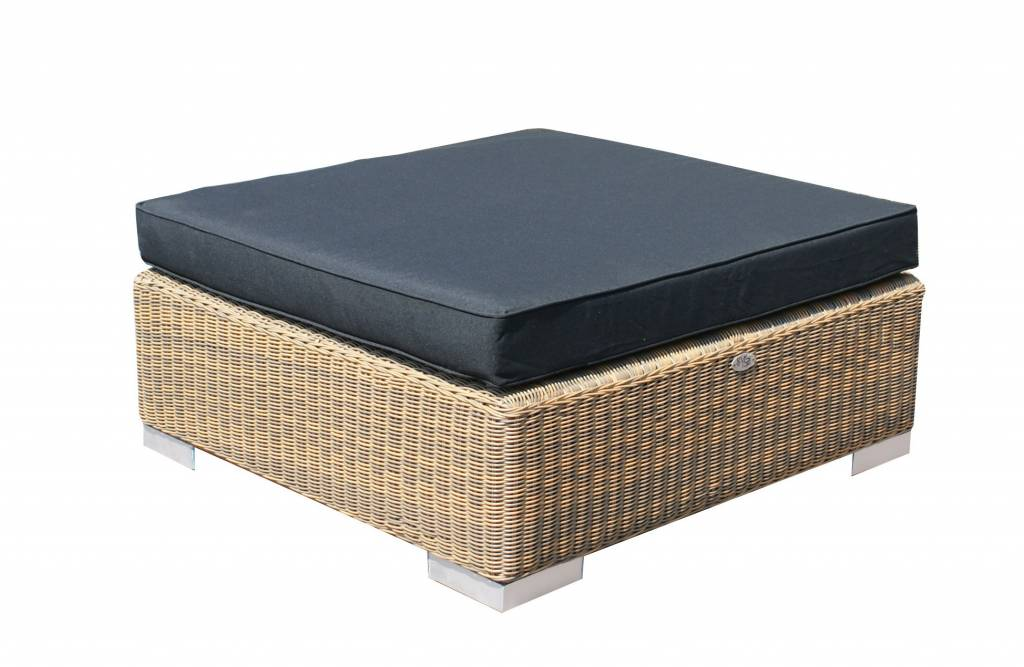 Hocker London - Cappuccino - rundes Polyrattan