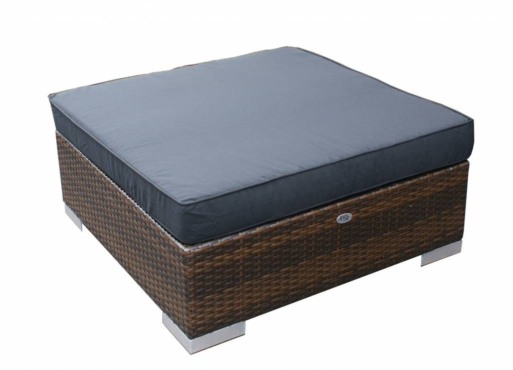 Hocker London - Braun - flaches Polyrattan