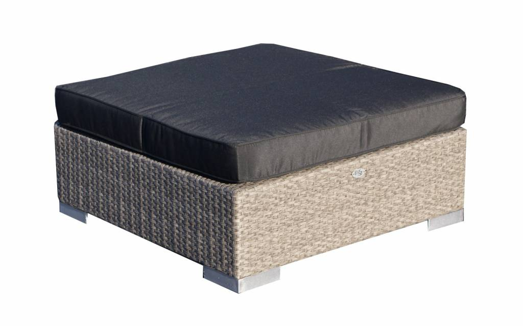 Hocker London - Grau gebürstet - flaches Polyrattan