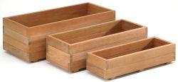 Jardineras de madera dura rectangular conjunto de 3