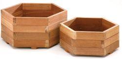 Jardineras de madera dura hexagonal conjunto de 2