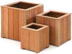 Jardineras de madera dura cuadrada 50x50x50cm