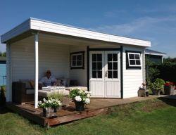 Houten tuinhuis blokhut Windsor platdak 500x250cm