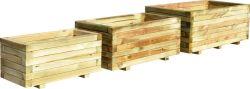Jardiniere bois rectangulaire ensemble