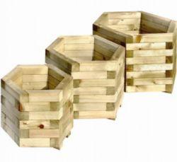 Jardiniere bois hexagonale ensemble