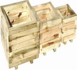 Bloembak plantenbak hout vierkant set