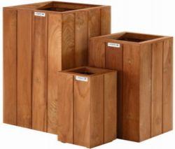 Jardineras de madera dura cuadrada 90x40x40cm