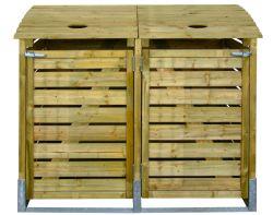 Mülltonnenbox Mülltonnenverkleidung holz doppelt 155x122x90cm