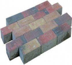 Brick pavement brown/black.