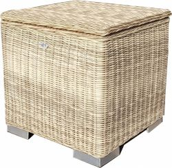 Kissen box I 60 x 60 x 60cm - Naturel - rundes Geflecht