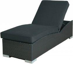 Chaise longue de jardin resine tressee Prague noir