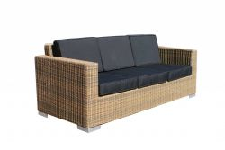 Lounge bench Paris poly rattan 3-seat cappuccino