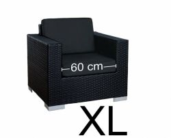 Stoel Parijs XL - Zwart - Plat vlechtwerk