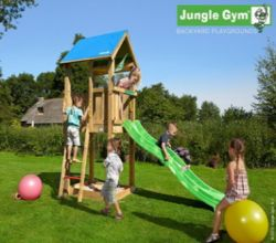 Wooden play house Jungle Castle Waveslide incl.