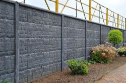 Betonzaun Steinmotiv grau 200x193cm doppelseitig