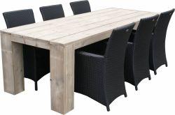 Salle à manger résine tressée Lisse table bois échafaudage