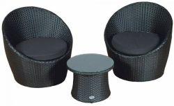 Conjunto de muebles poli ratán balcón Milan negro