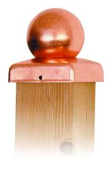Tapa poste de madera 71x71mm cobre bola