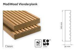Tarima exterior madera modificada térmicamente Modiwood Classic 390cm (26x140mm)