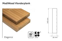 Tarima exterior madera modificada térmicamente Modiwood Elegant 420cm (26x140mm)