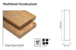 Tarima exterior madera modificada térmicamente Modiwood 420cm (26x140mm)