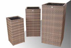 Bloembak Pilastro - hoog - Cappuccino - Plat vlechtwerk 60x60x120cm