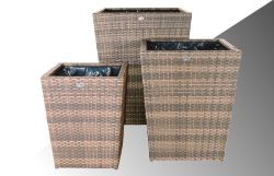 Bloembak Pompei - vierkant taps - Cappuccino - Plat vlechtwerk 65x65x80cm