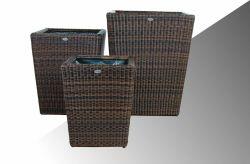 Bloembak Pompei - vierkant taps - Bruin - Rond vlechtwerk 52x52x64cm