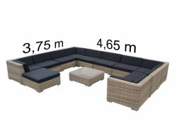 Lounge set London 4611 poly rattan natural