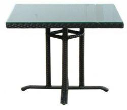 Mesa de terraza cuadrada poli ratan Lisboa negro