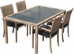 Dining set Valetta II poly rattan with Belgrado poly rattan chair cappuccino