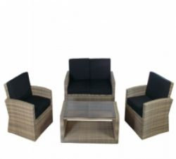 Loungeset tuinset wickerset Ambiente cappuccino