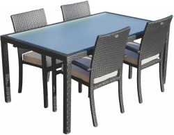 Dining set Valetta II poly rattan with Belgrado poly rattan chair black