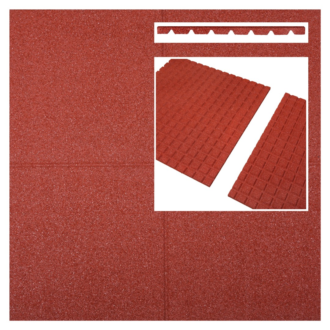 Fallschutzmatten Fallschutzplatten rot 500x500x25mm