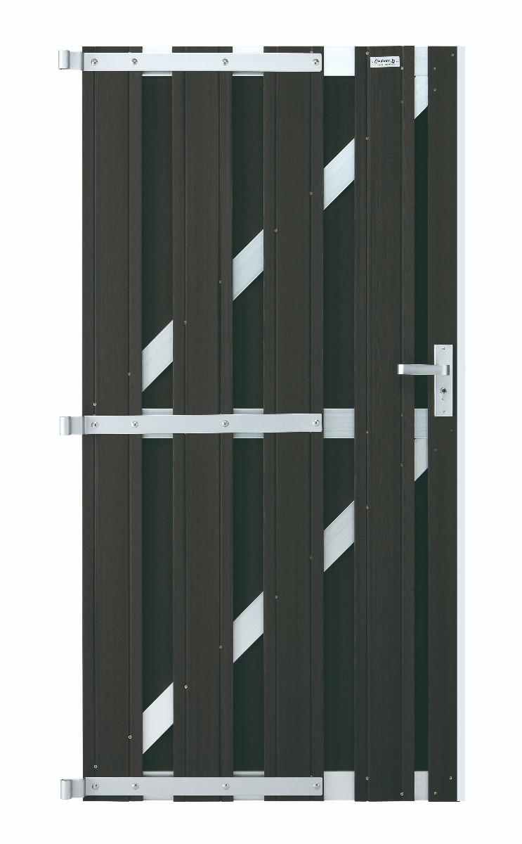Tuinpoort antraciet schutting WPC 90x180cm