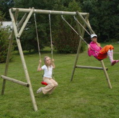 Houten schommel houten speeltoestellen dubbel Max compleet 300x220x210cm