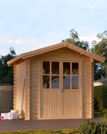 Houten tuinhuis blokhut Nano 2,5x2mtr met houten vloer