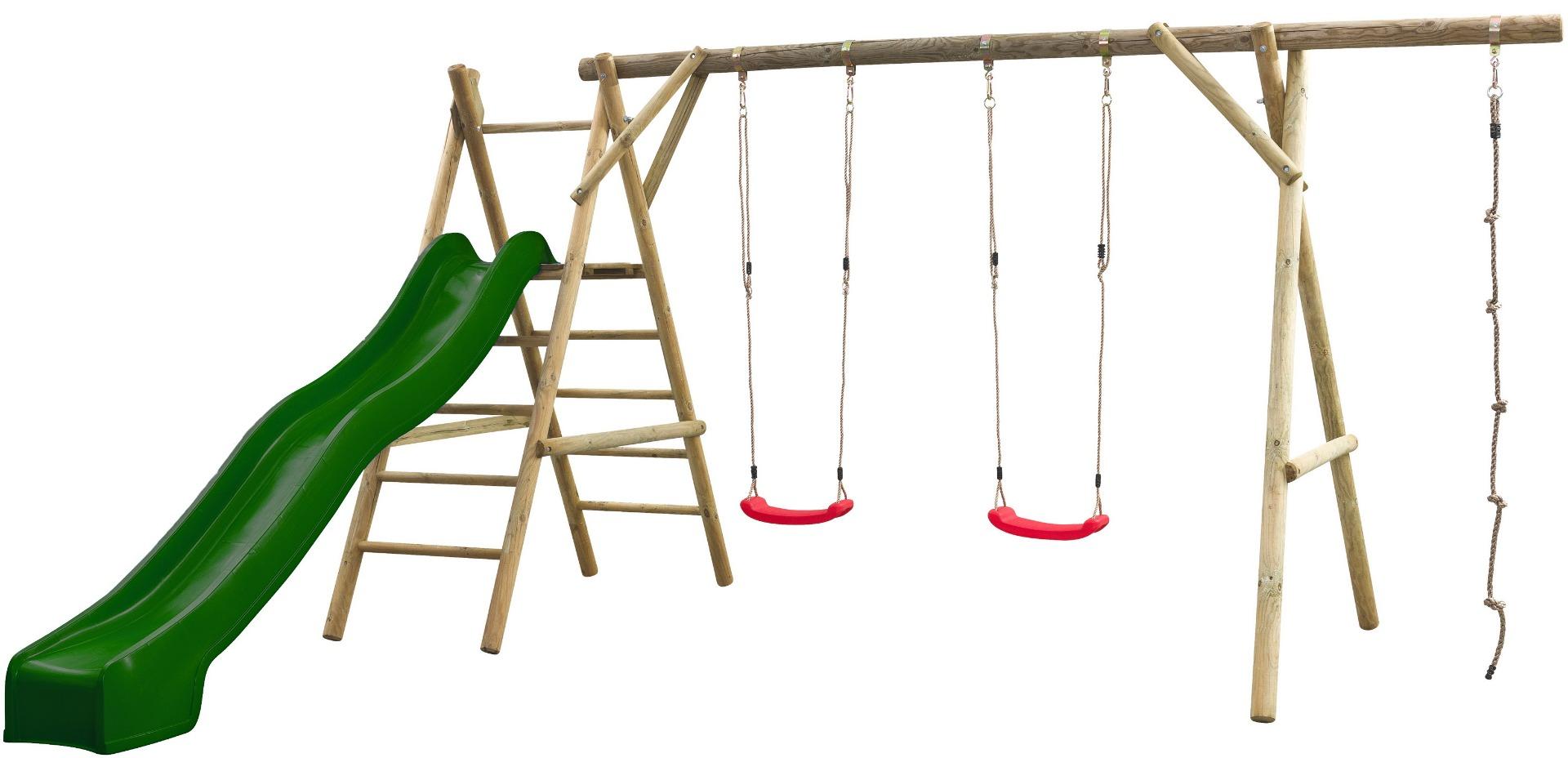 Houten speeltoestel schommel Henri compleet met glijbaan